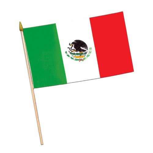 Beistle 50983 12-Pack Mexican Rayon Flags, 4 by (Wooden Tombstones Halloween)