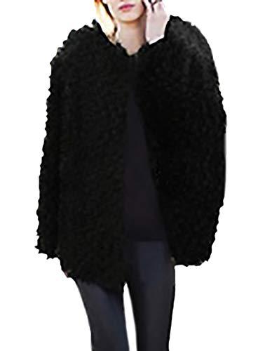 Giacca Outerwear Moda Incappucciato Sciolto Fashion Lanoso Cappotti Manica Finta Addensare Cappotto Di Eleganti Giacche Inverno Casual Monocromo Grazioso Nero Lunga Donna Stlie Pelliccia Hot 7YnqYH0xz
