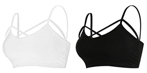 MIXMAX Women Strappy Crop Tank Tops Bustier Cutout Padded Bra Cami(Black&White)Medium