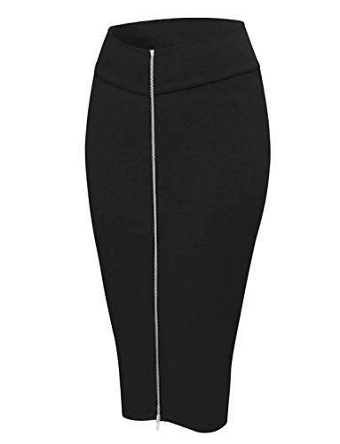 HRYfashion Womens Curve Zip Front Midi Pencil Skirt HRYCWD129-BLACK-US L