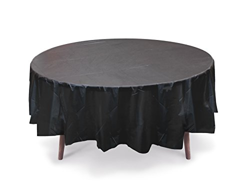 "5 PACK, 84"" Black Round Plastic Table Cover, Plastic Table C"