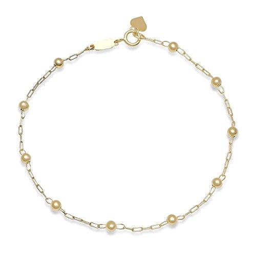 Heart 14k Beaded (Pori Jewelers 14K Solid Gold 3.0mm Beaded Ball Bracelets-7.5