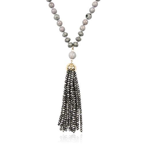 RIAH FASHION Bohemian Pendant Beaded Long Statement Necklace - Sparkly Crystal Bead Boho Teardrop, Natural Stone, Tassel Charm Wrap Lariat (Beaded Tassel - - Charm Circular Crystal