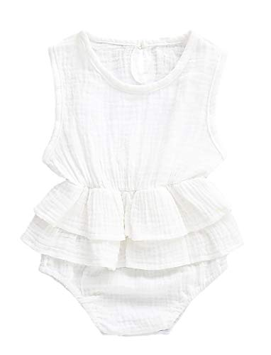 Adnee Newborn Infant Baby Girl Romper Bodysuit Sleeveless Ruffle Outfit Summer Clothes -