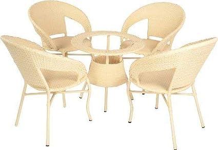 WICKER HUB GC02 Outdoor Set 4 Chair Table Honey