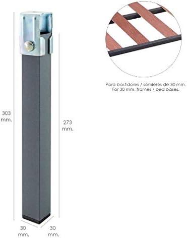 Wolfpack 5110100 Linea Profesional Juego Patas Cuadradas (4 Unidades) Tubo 30x30 mm. para Somier/Bastidor De 30 mm, 28 x 15 x 3.6 cm