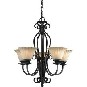 Forte Lighting 2202-05-64 Traditional 5 Light Chandelier, Bordeaux Finish with Umber Cloud Glass