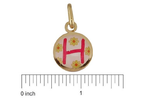 18K Yellow Gold Pink H enamel Medal (11mm/18mm with Bail)