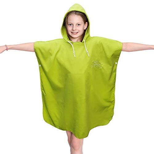 White Kaiman Changing Towel Microfiber Hooded Beach Towel Poncho Robe Boys Girls Kids Swim Coverup (Green, 8/10)