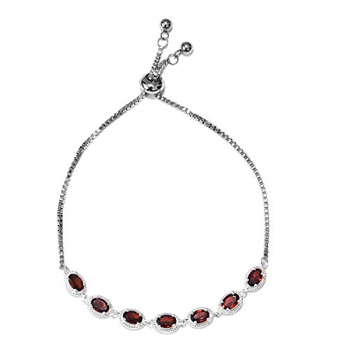 Magic Garnet Ball 7 Stone Strand Bolo Bracelet for Women 925 Sterling Silver Adjustable Cttw - Garnet Bangles Silver Sterling