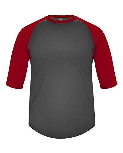 Sleeve Undershirt Baseball (Adult Large Graphite with Red Sleeves Raglan 3/4 Baseball & Softball Undershirt/Jersey Top)