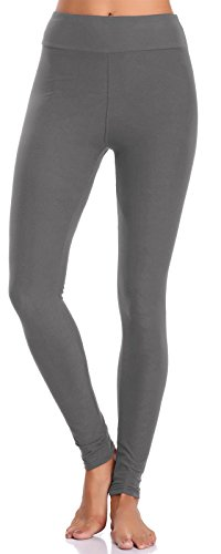 BAILYDEL Women's Ultra Soft Ankle Leggings High Waist Seamless Stretch Pants Color Grey Size XS-L