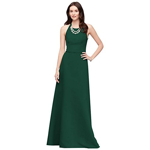(David's Bridal Crystal Necklace Faille A-Line Bridesmaid Dress Style OC290034, Juniper, 24)
