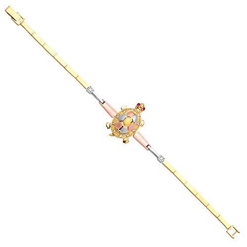 14k Tri Color Gold Turtle Bracelet - 7.5