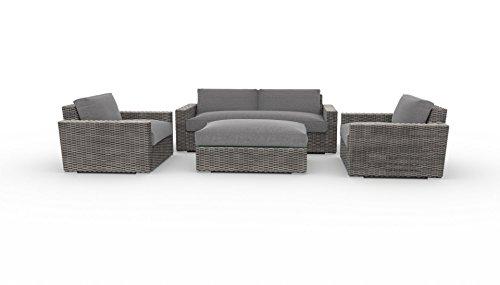 Toja Turo Outdoor Patio Sofa Set (4 Pcs)   Wicker Rattan Body With  Sunbrella Cushions (Full Round Wicker/Cast Slate)
