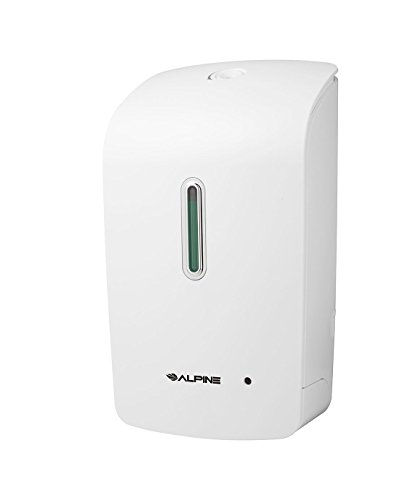 Alpine Wall Mountable, Touchless, Universal Liquid Soap Dispenser for Offices, Schools, Warehouses, Food Service Facilities, and Manufacturing Plants, Power with Cord or Batteries - White (Soap Dispenser Wall Commercial compare prices)