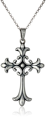Gothic Sterling Silver Celtic Cross Pendant Necklace, 18""