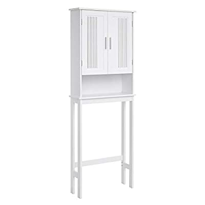 VASAGLE Bathroom Space Saver Cabinet, Over-The-Toilet Storage Unit, 4-Tier Adjustable Shelf Organizer, Adjustable Bottom Bar, White UBBC10WT - USE YOUR WAY: With 3 tiers inside the cabinet and an open area down below, there's room for storing your bathroom essentials in this space saver cabinet; soap, towels, toilet paper, and more can all sit comfortably against the wall ADJUST TO YOUR NEEDS: The 2 shelves inside the storage cabinet are adjustable, giving you room to store items both big and small; the adjustable bottom bar lets you fit this bathroom cabinet over just about any toilet ASSEMBLY MADE SIMPLE: With a simple structure and detailed directions, this over-the-toilet storage unit can be assembled before you know it; 2 types of anti-tip kits come with this storage cabinet (for studs or drywall) for extra stability - shelves-cabinets, bathroom-fixtures-hardware, bathroom - 31tDhn4Z8xL. SS400  -