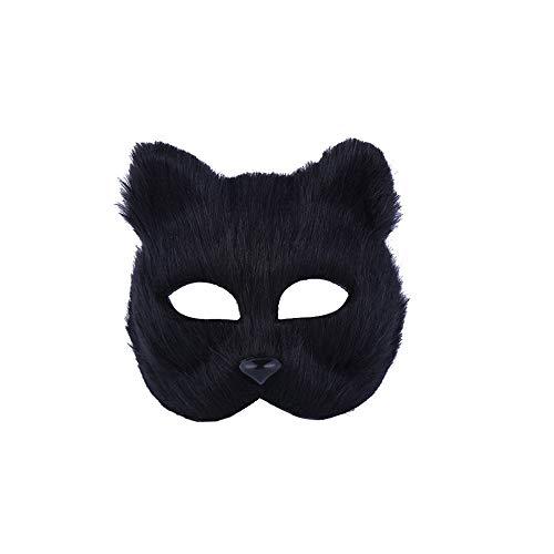 Halloween Fox Mask Cosplay Costume Half Face Animal Headgear Caps Furry Party Performance Accessory (Black)]()