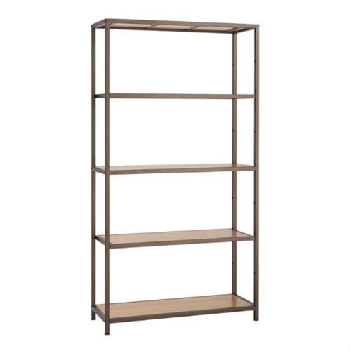LordBee Heavy Duty 5-Shelf Steel Frame Shelving Unit with Bamboo Shelves Home Kitchen Garage Bedroom Use Books Cookware Display Decor Organizer Storage Modern Contemporary Holder Functional