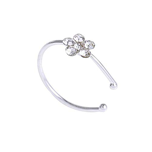 10PCS PRALB Small Flower Crystal Stainless Steel Nose Ring Cool Punk Body Piercing Bone Stud Jewelry Sparkly Jewelry Accessories (Silver) ()
