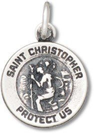 Sterling Silver Satin Finish Small Round St. Christopher Religious Charm Item #19674 ()