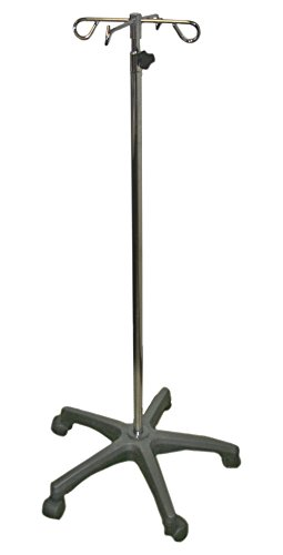IV Pole with Quad Ram Hook and 5-Leg Polymer Base ()