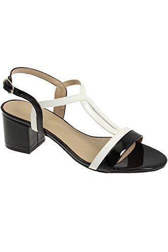 ZAFIRO Boutique jle063 Clarke Mujer Elegante Acolchado Tiras Moderno tacón en bloque Charol Sandalias Negro