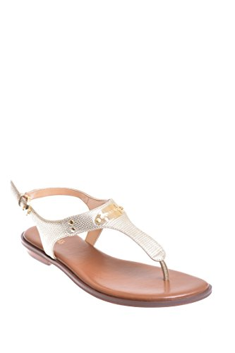 Michael Michael Kors Plate Embellished Metallic Thong Sandals in Pale Gold Size -