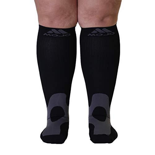 3XL Mojo Compression Socks 20-30mmHg Wide Full Calf Varicose Vein Edema Sports Compression Stockings Plus Size Black XXL