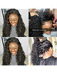 (Releek Deep Wave lace Front Wigs with Baby Hair Pre Plucked 100% Unprocessed Brazilian Deep Wave Lace Front Wigs Human Hair 150% Density Full End Lace Wigs Natural Color for Women)