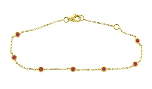 0.15 Ct. 14K Yellow Gold Natural Real Round Cut Bezel Set Red Ruby Ladies Adjustable Chain Bracelet 14k Yellow Gold Ruby Bracelet