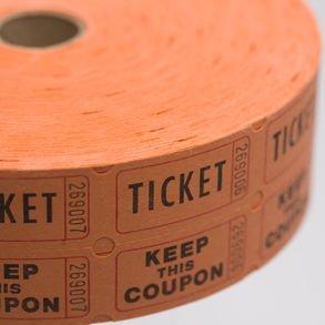 SALE Orange Double Raffle Ticket Roll SALE