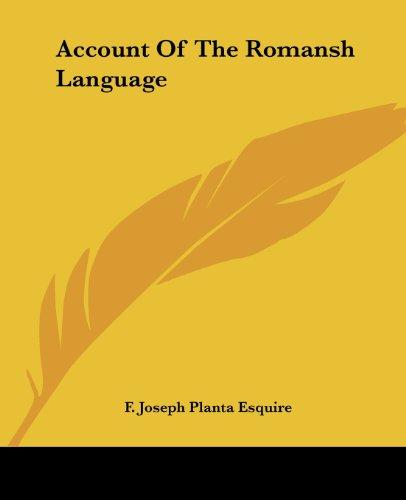 Account Of The Romansh Language...