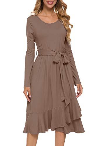 Women Flowy Fall Midi Modest Work Casual Ruffle Dress with Belt Khaki S