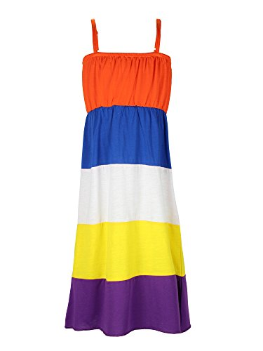 Colorblocked Maxi Dress (S.W.A.K Girls Colorblocked Maxi Dress Size 4- Orange Combo)
