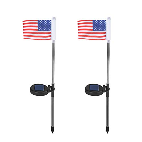 ROLYPOBI Light Bulbs 2PC Solar Light Power American Flag LED Outdoor Garden Path Landscape Lamp Decor