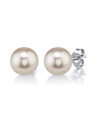 THE PEARL SOURCE 14K Gold 8-9mm AAAA Quality Round White Freshwater Cultured Pearl Stud Earrings for Women (Freshwater Pearl Best)