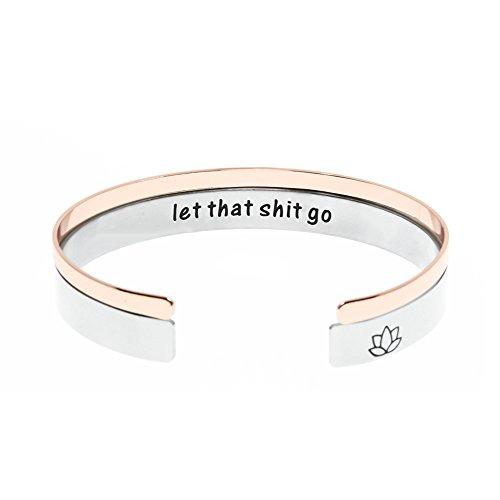 Ms. Clover Meditation Bracelet, Let That Shit Go Hand Stamped Inspiration Cuff, Lotus Flower, Yoga -