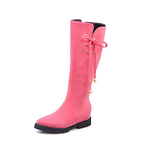 Heels Suede Pointed AgooLar Boots Imitated Zipper Pink Women's Toe Closed Solid Kitten tC6ZwX7xqZ