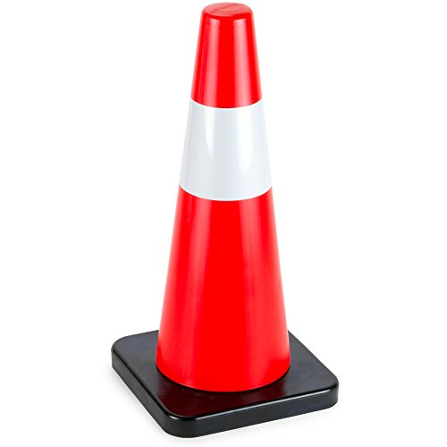 """18"""" High Hat Cones in Fluorescent Orange with Reflective Sleeve and Black Base for Indoor/Outdoor Traffic Work Area Safety Marker & Agility Sport Training by Bolthead Industrial (Single)"""