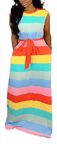 Women Maxi Dress Rainbow Striped Long Dresses Casual Loose Oversized Sundress Party Prom Ladies Outfits -