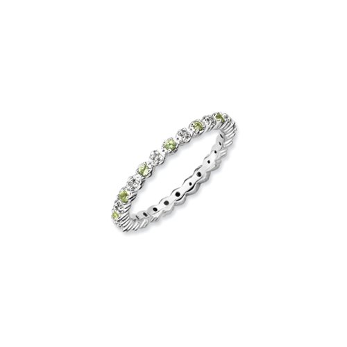 2.25mm Stackable Peridot & .05 Ctw HI/I3 Diamond Silver Band, Size 9