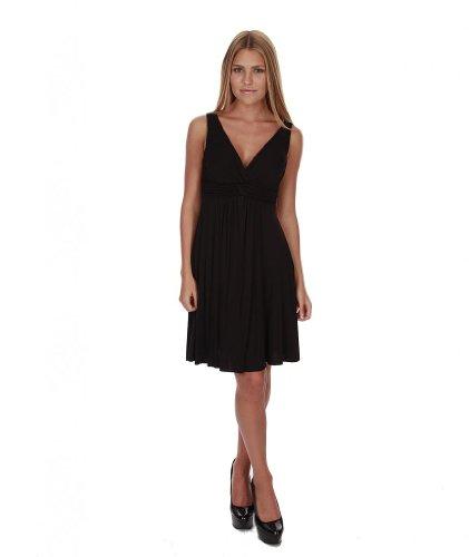 Hollywood Star Fashion Women's Knee Length Dress With Padded Bra Medium Black