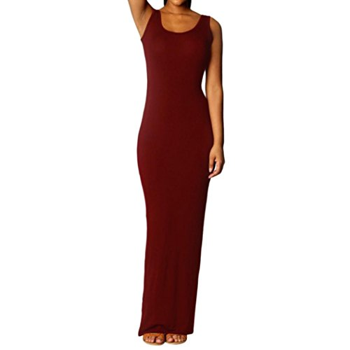 Maxi Party Sexy Chic La O Manches Danse Bohme Plage Col lgant Doux Cocktail Longue du Solides Robe Longueur T Casual Vin Sol Camisole sans Droite Dames Slim Femme Dress Simple Mode qIT6x