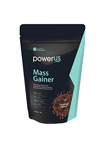 Powerus Mass Gainer Powder (1kg, Chocolate Flavour) with Creatine Monohydrate, Vitamins, Minerals, Digestive Enzymes and Amino Acids,10 servings