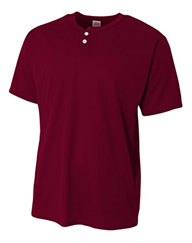 A4 Youth 2-Button Mesh Henley, Small, Maroon