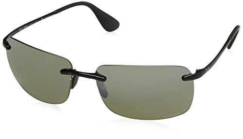 Ray-Ban Men's RB4255 Chromance Lens Navigator Sunglasses, Shiny Black Frame/Grey Mirror Silver Polar Lens - Polar Ray