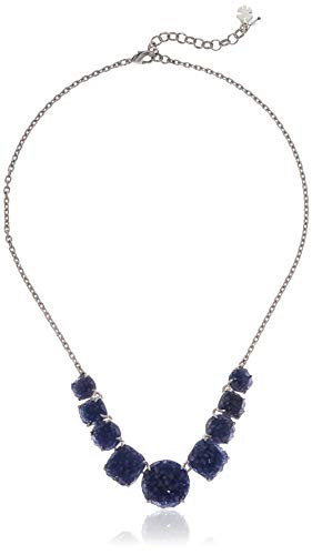 Lucky Brand Women's Silver Blue Druzy Collar Necklace, One Size