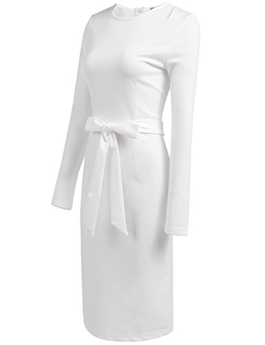 Work Sleeve ANGVNS Business Women Wear Pencil Office Long Belt with Dress White to Retro gqYqZf